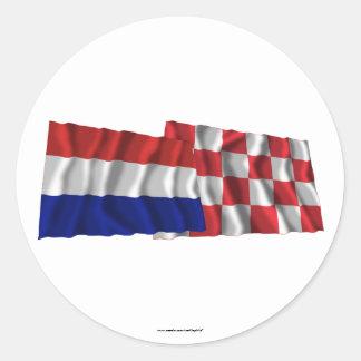 Netherlands & Noord-Brabant Waving Flags Round Stickers