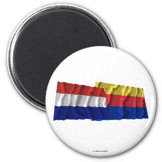 Netherlands Noord-Holland Waving Flags Refrigerator Magnets