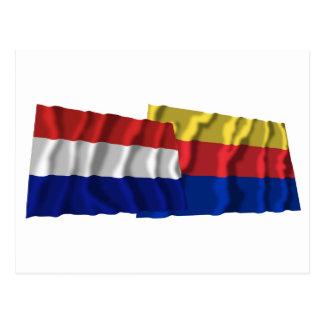 Netherlands & Noord-Holland Waving Flags Postcard
