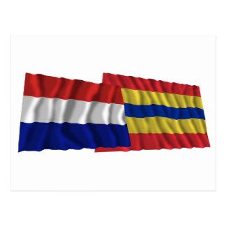 Netherlands & Overijssel Waving Flags Postcard