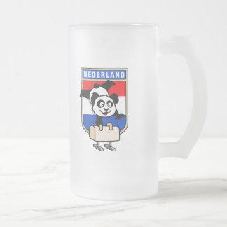 Netherlands Pommel Horse Panda Frosted Glass Beer Mug