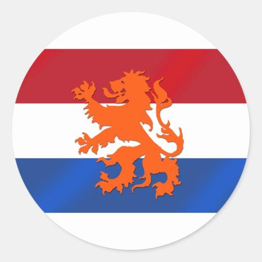 Netherlands rampant lion netherlands flag classic round sticker
