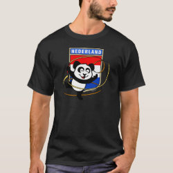 Men's Basic Dark T-Shirt with Dutch Rhythmic Gymnastics Panda design