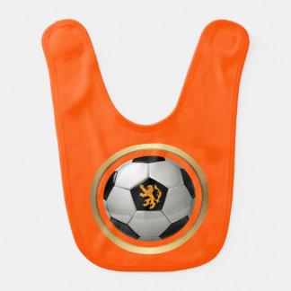 Netherlands Soccer Ball,Dutch Lion on Orange Baby Bib
