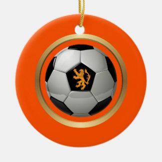 Netherlands Soccer Ball,Dutch Lion on Orange Ceramic Ornament