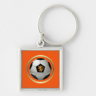 Netherlands Soccer Ball Dutch Lion on Orange Key Chain