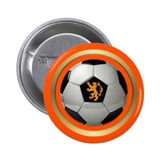 Netherlands Soccer Ball,Dutch Lion on Orange Pinback Button