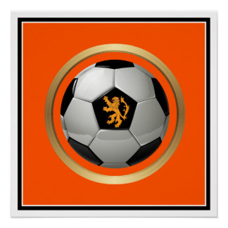 Netherlands Soccer Ball,Dutch Lion on Orange Perfect Poster