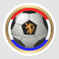 Netherlands Soccer Ball with Dutch Lion Classic Round Sticker