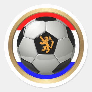 Netherlands Soccer Ball with Dutch Lion Classic Round Sticker
