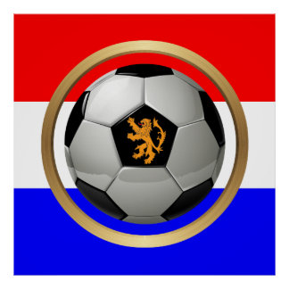 Netherlands Soccer Ball with Dutch Lion Posters