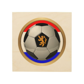 Netherlands Soccer Ball with Dutch Lion Wood Prints