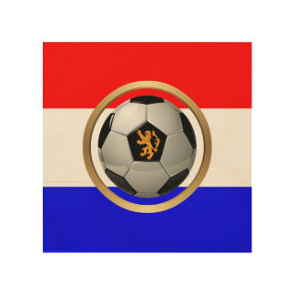 Netherlands Soccer Ball with Dutch Lion Wood Canvas