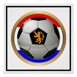 Netherlands Soccer Ball with Dutch Lion Perfect Poster
