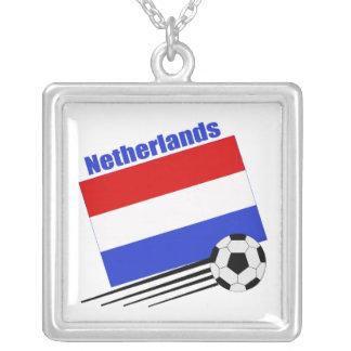 Netherlands Soccer Team Square Pendant Necklace