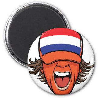 Netherlands Sports Fan 2 Inch Round Magnet