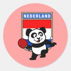 Round Sticker with Dutch Table Tennis Panda design