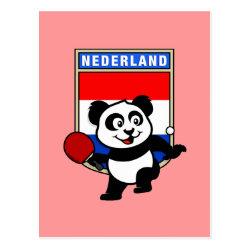 Postcard with Dutch Table Tennis Panda design