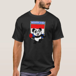 Men's Basic Dark T-Shirt with Dutch Table Tennis Panda design