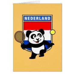 Greeting Card with Dutch Tennis Panda design