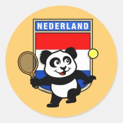 Round Sticker with Dutch Tennis Panda design