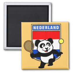 Square Magnet with Dutch Tennis Panda design