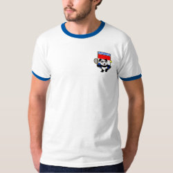 Men's Basic Ringer T-Shirt with Dutch Tennis Panda design