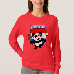 Women's Basic Long Sleeve T-Shirt with Dutch Tennis Panda design