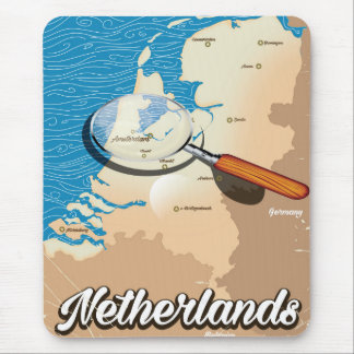 Netherlands vintage map vacation poster mouse pad