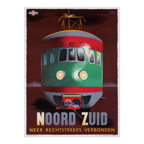 Netherlands Vintage Travel Poster Restored