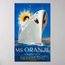 Netherlands Vintage Travel Poster Restored