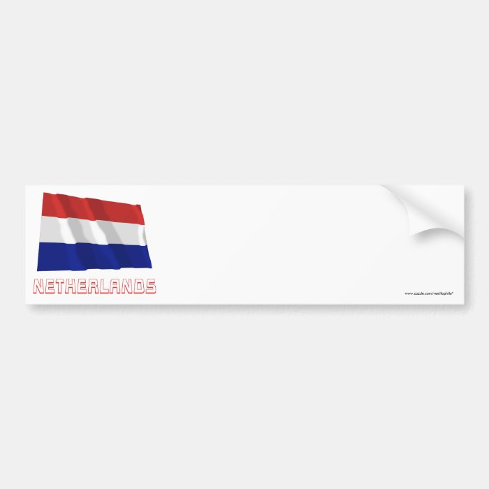 Netherlands Waving Flag with Name Bumper Sticker