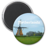 Netherlands Windmill 2 Inch Round Magnet