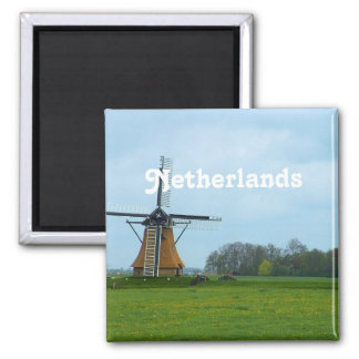 Netherlands Windmill 2 Inch Square Magnet