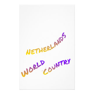 Netherlands world country,  colorful text art stationery