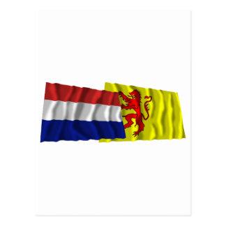 Netherlands & Zuid-Holland Waving Flags Postcard