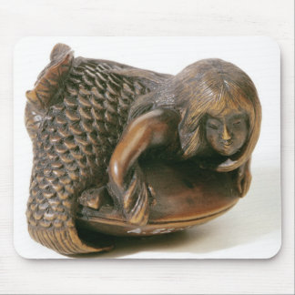 Netsuke carved in the shape of a mermaid mouse pad