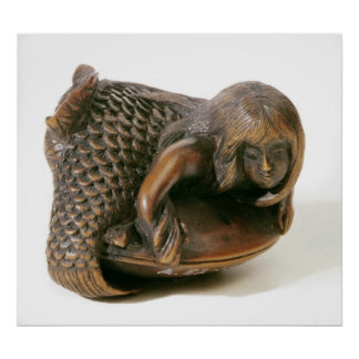Netsuke carved in the shape of a mermaid poster