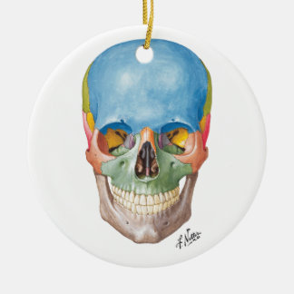 Netter Skull for your Christmas Tree Double-Sided Ceramic Round Christmas Ornament