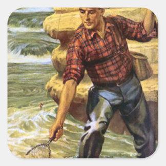 Netting a fish square sticker