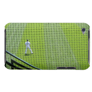 Netting with baseball player on green grass. iPod Case-Mate case