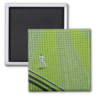 Netting with baseball player on green grass. magnet