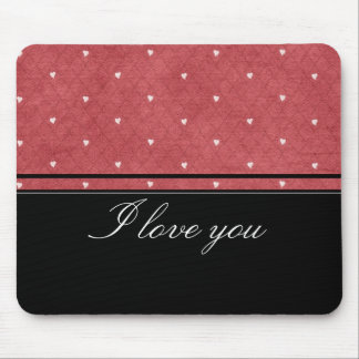 Network background with hearts and black stripes mouse pad