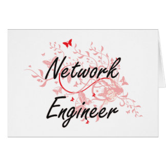 Network Engineer Artistic Job Design with Butterfl Card