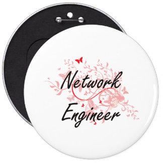 Network Engineer Artistic Job Design with Butterfl Pinback Button
