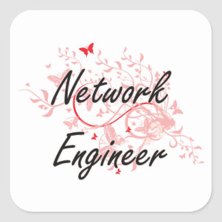 Network Engineer Artistic Job Design with Butterfl Square Sticker