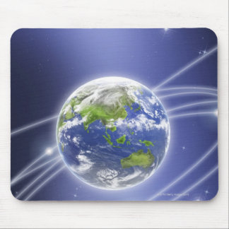 Network Lights Surrounding Earth 2 Mouse Pad