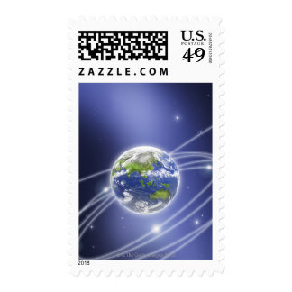 Network Lights Surrounding Earth 2 Stamps