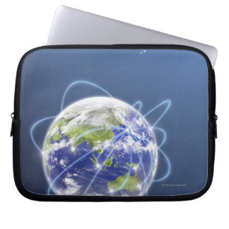 Network Lights Surrounding Earth Computer Sleeve