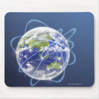 Network Lights Surrounding Earth Mouse Pad